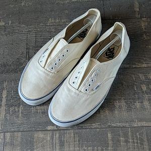 Vans Mens Pro Ivory Canvas Slip-on Sneakers Sz. 13